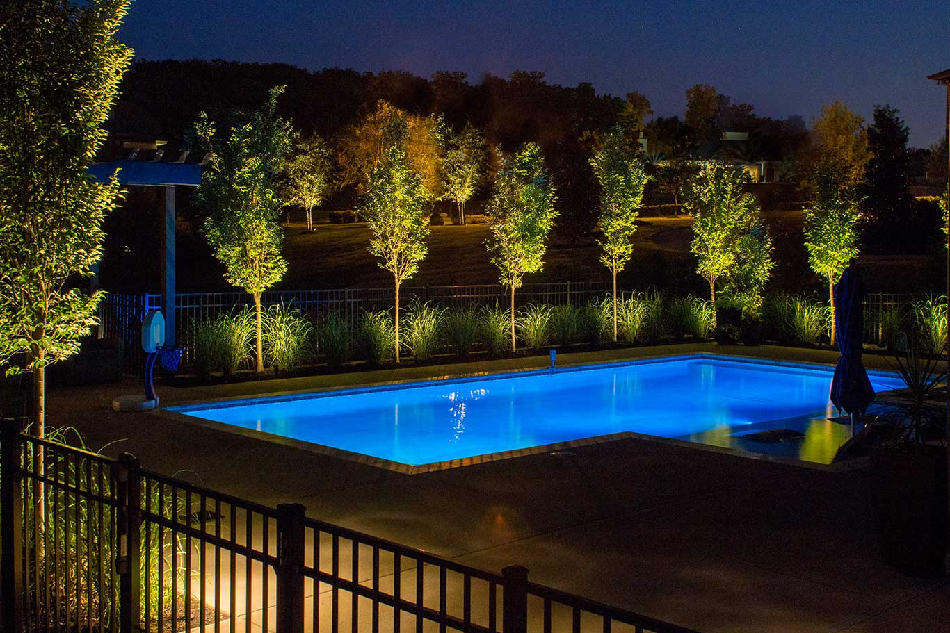 Amazing Landscape Lighting By Blue Pool