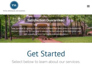 total sprinkler and lighting website screenshot