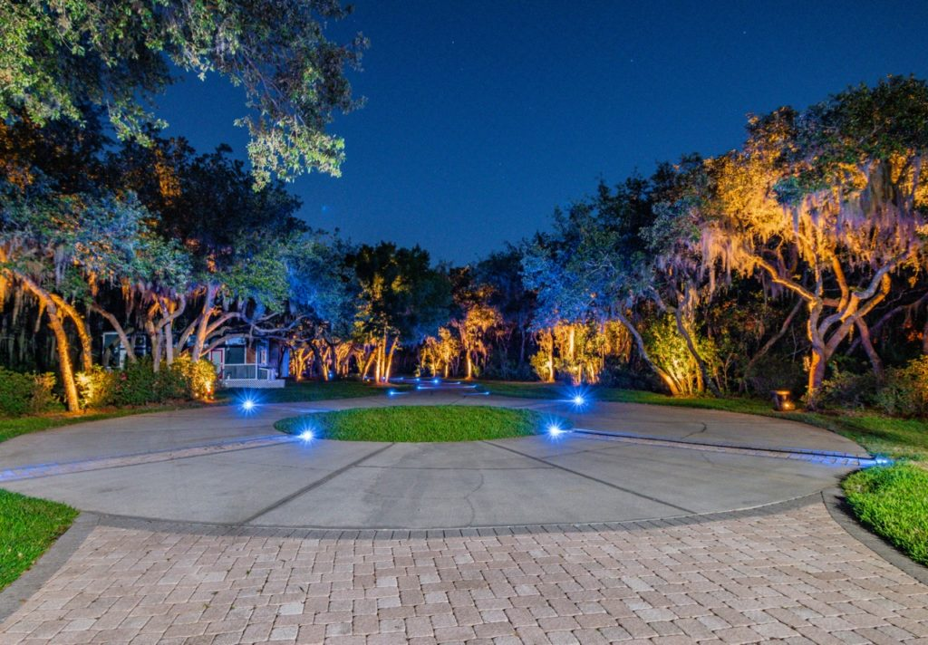 residential landscape lighting blue