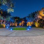 residential landscape lighting blue