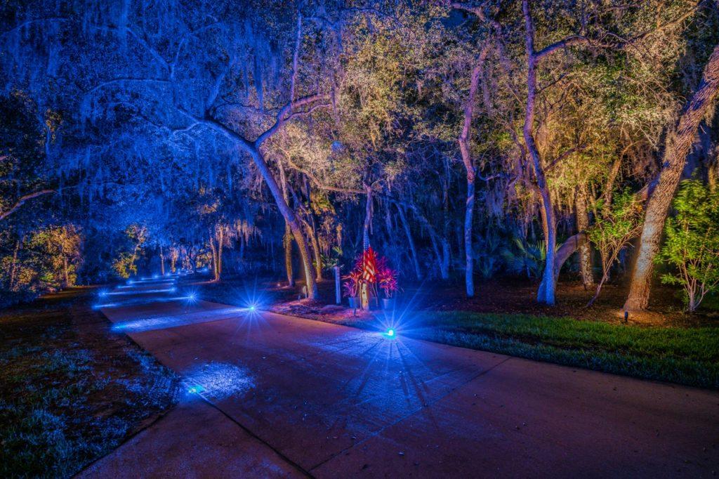residential landscape lighting blue, american flag