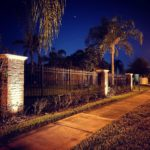 uplighting on brick column