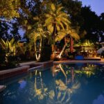 Landscape Lighting Reflected in Pool