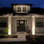 New Landscape Lighting on Modern Farmhouse Entrance