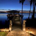 Illuminated Dock with Pathlighting at Entrance