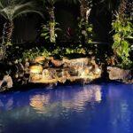 Lighting for Rock Waterfall Over Pool